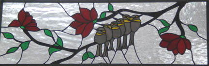 stained glass birds window