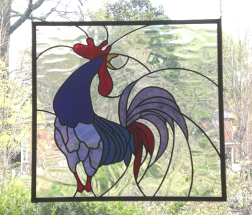 stained glass rooster window