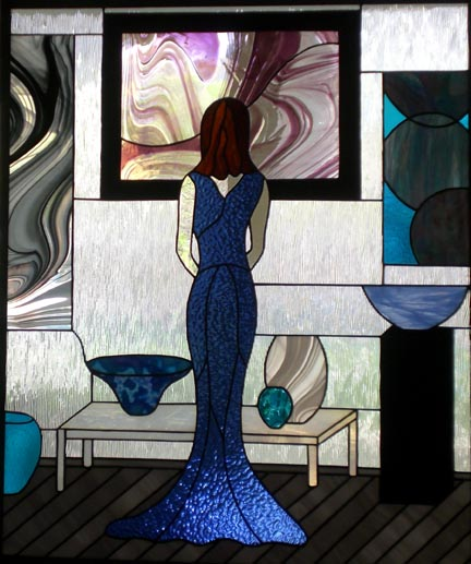 stained glass lady window