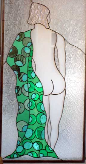 stained glass nude window