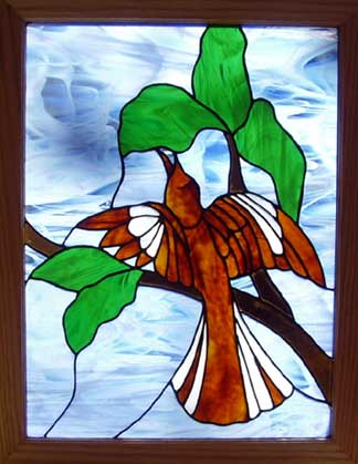 stained glass mockingbird window