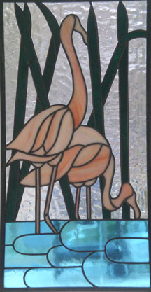 stained glass flamingo window