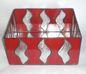 red stained glass candle holder