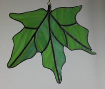 stained glass green leaf